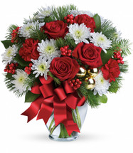 Merry Beautiful Bouquet from Enchanted Florist Pasadena TX. So very merry! Spread holiday cheer far and near with this festive mix of classic Christmas roses, winter forest greens and sparkling golden ornaments. TWR12-4