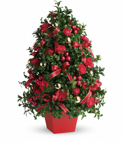 "Deck the Halls Christmas Tree from Enchanted Florist Pasadena TX. Don't let a lack of space dampen your spirits! This ""tree"" made of holiday greens, red flowers, festive ornaments and ribbon will deck anyone's halls in style! 134-1"