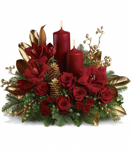 Candlelit Christmas Centerpiece with Amaryllis from Enchanted Florist Pasadena TX. Christmas by candlelight is the perfect way to delight in the warmth and joy of the season. This elegant arrangement will be at home anywhere in the house, adding grace and beauty to any holiday celebration. 113-1