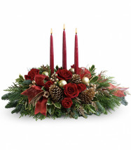 All is Bright Christmas Centerpiece from Enchanted Florist Pasadena TX. All will be bright this season when you order this joyful Christmas arrangement. A lovely centerpiece, it will light up the holiday festivities beautifully. 114-1