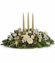 Royal Christmas Centerpiece in Gold from Enchanted Florist Pasadena TX. Know someone who deserves the royal treatment this holiday season? This shimmering golden centerpiece will shine its golden light upon them. 131-3