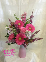 MOMbre Pink Mothers Day Ombre Flowers by Enchanted Florist Pasadena TX. This lovely all pink bouquet of flowers includes pink gerbera daisies, pink roses, fragrant pink stock and more in our exclusive pink ombre vase. This stunning vase is all the rage in it's ombre design as it transitions from pink to white. RM806