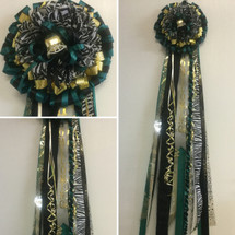 The Zebra Flower Homecoming Mum by Enchanted Florist, your homecoming mums headquarters. This is a special mum with a zebra flowers. It includes a spiral braid in your school colors as well. HMC110