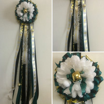 Our Starter Homecoming Mum is a single homecoming mum with the basics so you can add as much or as little trinkets, braids, chains and decorations as you would like. HMC101