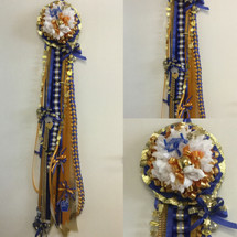 The Milby High School Homecoming Mum from Enchanted Florist includes a single mum flower, trinkets, chains, Loopty briad and Military braid in Milby High School colors, but can be created in the school colors of your choice.
