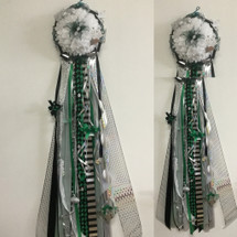 The Pasadena High School Homecoming Mum from Enchanted Florist can be designed in any color for any school. It includes a single mum flower, trinkets, and two chains.