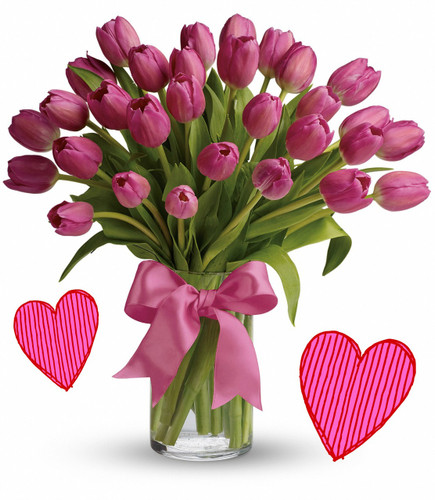 30 Pink Tulips for Valentines Day by Enchanted Florist Pasadena TX.  Thirty pink tulips are long lasting and a beautiful non traditional option for Valentines Day for when your special someone wants you to think outside the box, but still want something in the traditional pink colors. RM950