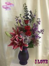 Hugs & Kisses Purple Valentines Day Flowers