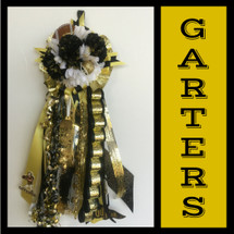 The Galena Park High School Homecoming Garter from Enchanted Florist includes a single garter flower, trinkets, metallic chain, the Loopty braid, and garter band in the school colors of your choice.  HMC146