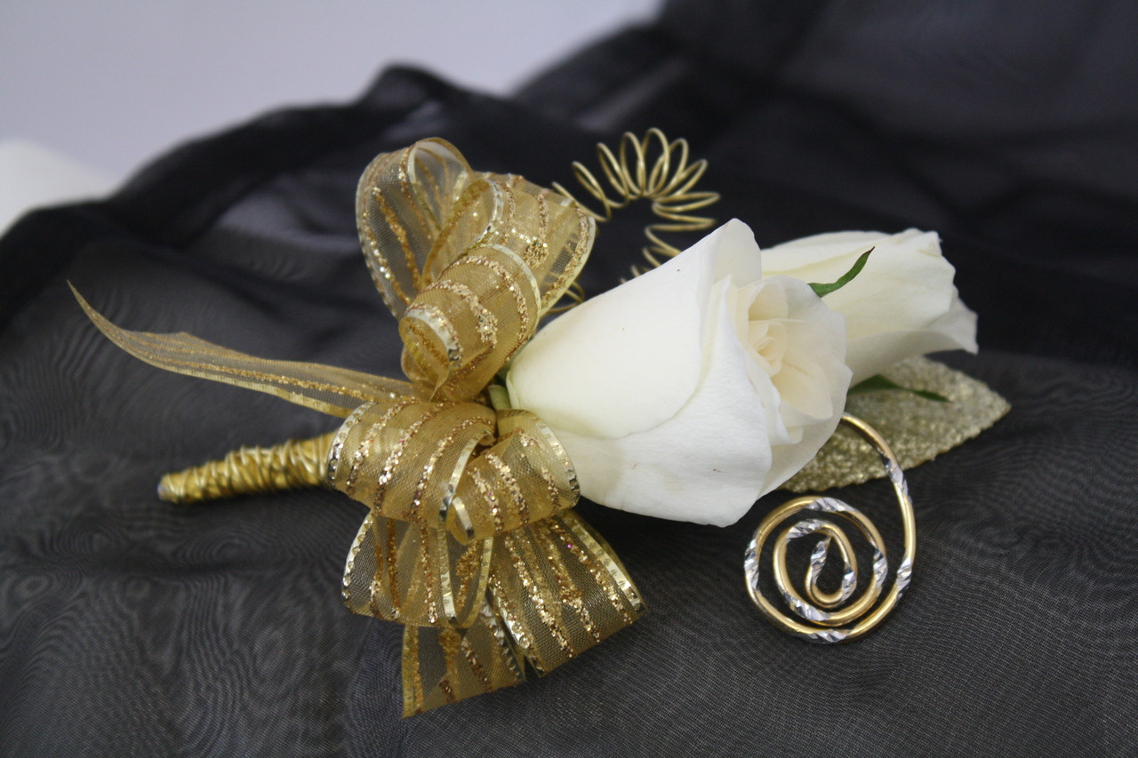 Prom boutonniere for guys gol trim with white roses the hemsworth prom boutonniere gold ribbons with spray roses by enchanted florist pasadena tx the freerunsca Image collections