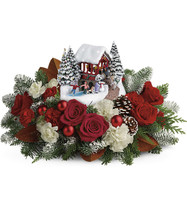 Thomas Kinkade's Snowfall Dreams Bouquet  This lush bouquet includes red roses, white carnations, red miniature carnations, and white miniature carnations, accented with flat cedar, magnolia leaves, and noble fir. Delivered with a Thomas Kinkade's Snowfall Dreams keepsake. T18X200B.