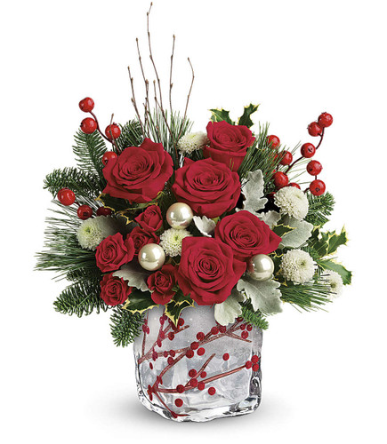 Winterberry Kisses Bouquet  Red roses, red spray roses, and white button spray chrysanthemums are arranged with dusty miller, variegated holly, noble fir, white pine, and birch. Delivered in a Winterberry Kisses cube. T18X600B.