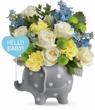 Hello Sweet Baby Boy Elephant with Flowers from Enchanted Florist. This adorable new baby boy gift features whimsical white roses, yellow carnations, light blue delphinium, green buttons, and accented with greenery and filler. Hand delivered by our professional in a Hello Baby Elephant keepsake.   SKU RM312