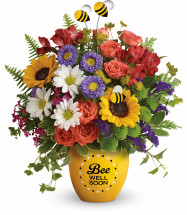 Buzzing Bee Well Soon Pot of Flowers from Enchanted Florist. Our get well bouquet of flowers includes orange spray roses, red alstroemeria, yellow sunflowers, green button mums, white daisies, purple statice, various filler flowers and accented with greenery. Same day delivery and arranged in a Buzzing Bee Well pot. SKU RM174
