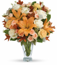 Sophisticated for Fall Bouquet from Enchanted Florist. Add some sophistication to the fall season with this gorgeous autumn arrangement. These striking roses and lilies are sure to brighten anyone's day. SKU TFL10-2