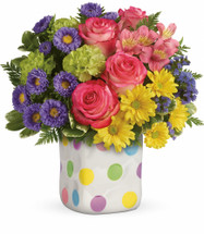 Happy Dots Rose Bouquet from Enchanted Florist. This happy arrangement includes hot pink roses, pink alstroemeria, green carnations, lavender matsumoto asters, yellow daisy spray chrysanthemums, purple sinuata statice, and various greenery. Hand delivered by our real florist in this Happy Dots cube. SKU RM177