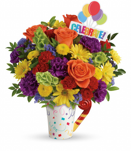 Happy Birthday Flower Bouquet in Celebrate Mug from Enchanted Florist. Your delightful gift bursts with orange roses, purple carnations, red miniature carnations, yellow buttons, yellow daisies, bells of Ireland, filler flower and various greenery. Hand delivered by a florist professional in our exclusive Cheers to You mug. SKU RM178