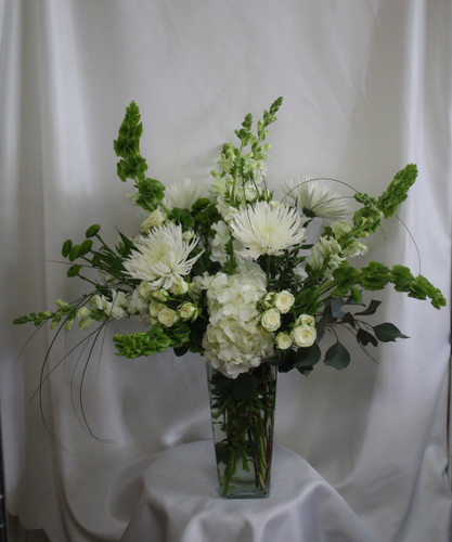 All White Farmhouse Flower Arrangement from Enchanted Florist. These creme, neutral and green flowers are designed beautifully and arrive in a clear vase. This farmhouse inspired bouquet includes white hydrangeas, white spiders, white spray roses, white snapdragons, white alstromeria, green bells of Ireland and green kermit daisies.  Clear Lake TX flower delivery. SKU RM187