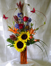 Bursting with Butterflies Red Rose and Orange Lily Bouquet by Enchanted Florist Pasadena TX - Same day delivery available in Houston Texas and surrounding areas Item RM119