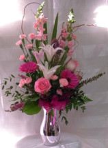 Hot Pink Perfection Pink Rose Arrangement by Enchanted Florist Pasadena TX - Same day delivery available in Houston Texas and surrounding areas Item RM123