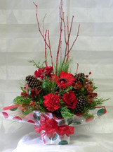 Polka Dot Christmas Present Red Gerbera Bouquet by Enchanted Florist Pasadena TX - Daily deliveries to Houston Texas and surrounding areas. Item RM113