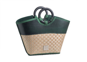 Eco Friendly Reclaimed Resort Trendy Tote Bag with Bamboo Handles