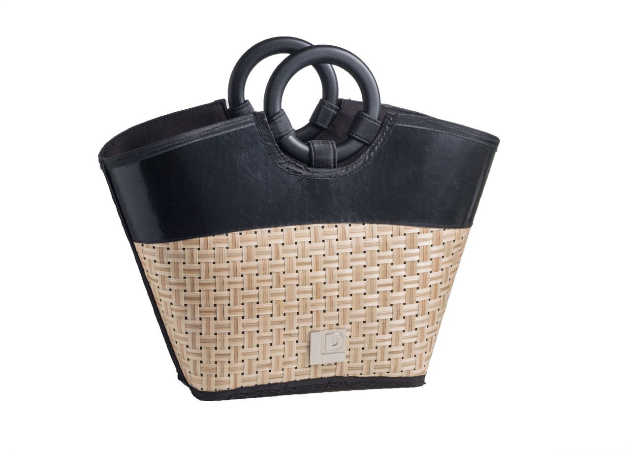 87e1e32a0261 Eco Friendly Reclaimed Resort Trendy Tote Bag with Bamboo Handles. Price    34.97. Image 1