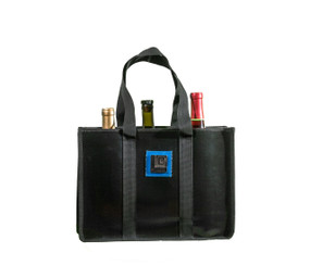 Features: •	100% reclaimed irrigation hose (shinny Black) •	Holds 3 bottles of Pino size bottles •	When one bottle just isn't enough, this is the perfect bag for all those wine lovers out there. •	Removable velco dividers (2 of them) •	This wine bag effortlessly transform into a gym or beach tote •	Soft cotton webbing handle •	Shinny LD square logo in the front center