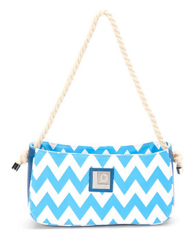 Blue Chevron Shoulder Bag Product Description: A chevron pattern emboldens this modern shoulder bag, finished with a twisted rope strap for a nautical twist. •	12'' W x 6.7'' H x 4'' D •	12.5'' handle drop •	Man-made / cotton / reclaimed upcycled layflat irregation hoses / nylon •	Zip closure •	Interior: one zip and two slip pockets •	Waterproof •	Made in the USA