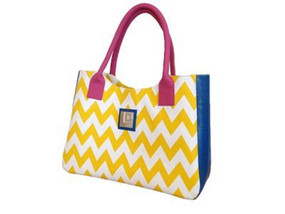 Upcycled shoulder bag in Yellow & White chevron pattern