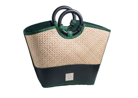 7931a4bd9545 Eco Friendly Reclaimed Resort Trendy Tote Bag with Bamboo Handles