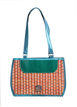 Red, green, blue  Bamboo Bag with Fabric Handle