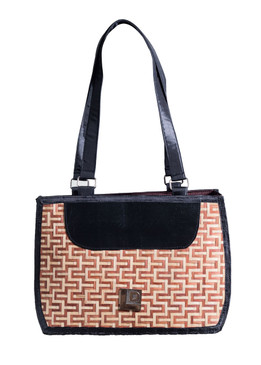 Brown & Black  Bamboo Bag with Fabric Handle