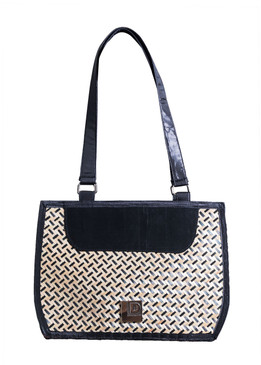 Black Style Bamboo Bag with Fabric Handle