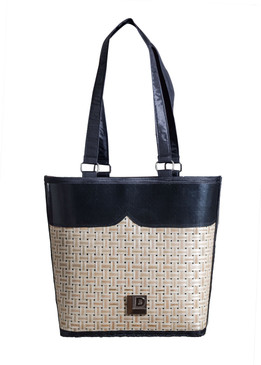 Bucket Black Bamboo Bag with Fabric Handle