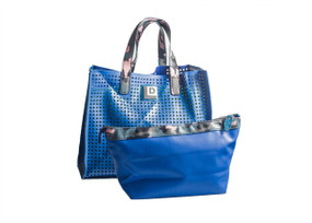 Perforated Blue Tote Handbag
