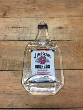 Jim Beam Bourbon Handmade Serving Bottle Tray - Melted Glass Whiskey Bottle