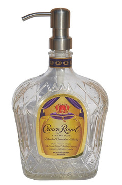 Crown Royal Liquor Bottle Repurposed Soap or Lotion Dispenser (750ml, Standard Purple)