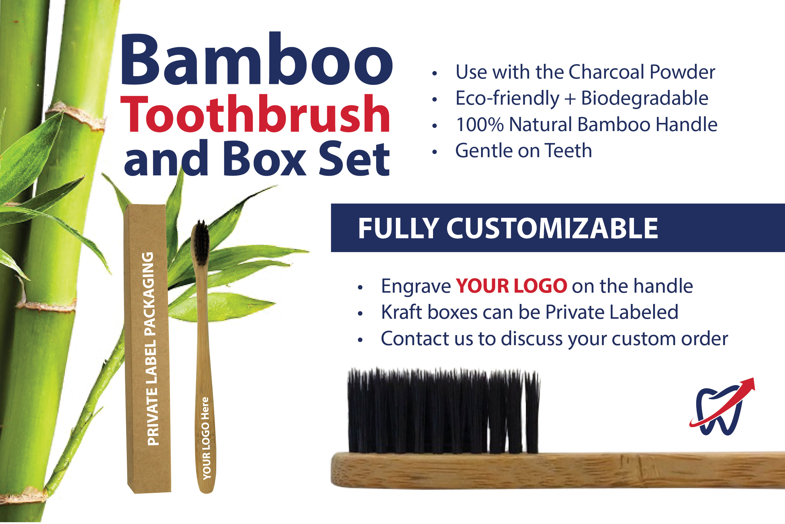 Bamboo Toothbrush with Box (Qty: 25)
