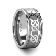 YORATH Tungsten Wedding Band with Celtic Chains
