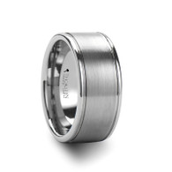 ANTHOS Wide Flat Brushed Tungsten Ring with Polished Edges