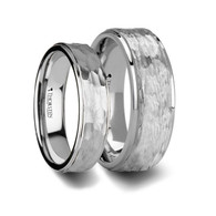 LUCIO Hammered White Tungsten Ring