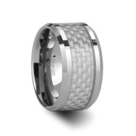 AYRTON White Carbon Fiber Inlay Tungsten Ring