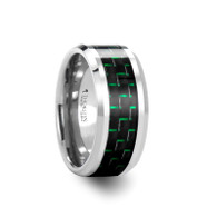 SLYTHERIN Black Green Carbon Fiber Inlaid Tungsten Ring