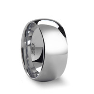 METALORN Wide Round White Tungsten Polished Ring