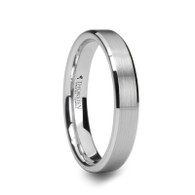 VIRGIL Brushed Tungsten Wedding Band with Beveled Edge