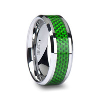 NAGINI Green Carbon Fiber Inlaid Polished Tungsten Wedding Band