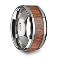 MUFASA Tungsten Wood Inlaid Ring of African Sapele