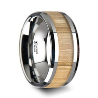 KETCHUM Ash Wood Tungsten Band with Polished Bevels