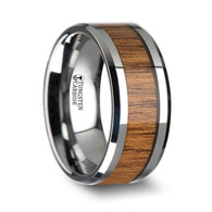 HAWSER Teak Wood Inlay Tungsten Ring